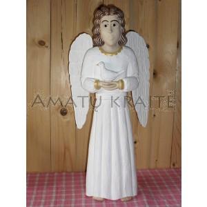 """Rankų darbo skulptūra """"Angelas su paukšteliu"""", 35 cm"""