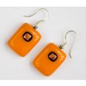 """Rankų darbo auskarai iš vitražinio stiklo """"Oranžinė oranžinė"""""""