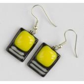"""Rankų darbo auskarai iš vitražinio spalvoto stiklo """"Geltona juodame"""""""