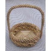 Iš šiaudų pintas krepšiukas, 16 cm