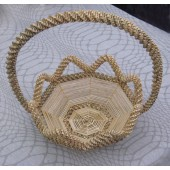 Iš šiaudų pintas krepšys, 22 cm