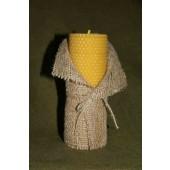Žvakė iš korio su lino dekoru 17 cm x 6 cm