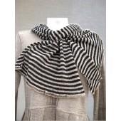 Plonomis juostelėmis juoda ir lino spalva dryžuotas šalikėlis 180 cm x 40 cm